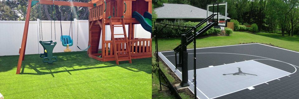 Backyard Playground Grass & Sport Courts